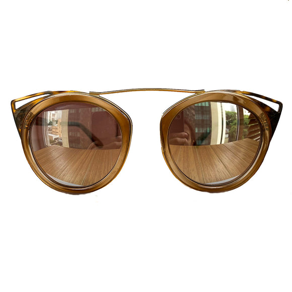 Round Honey Coloured Suglasses w/ Cat Eye Turtle Print Detail
