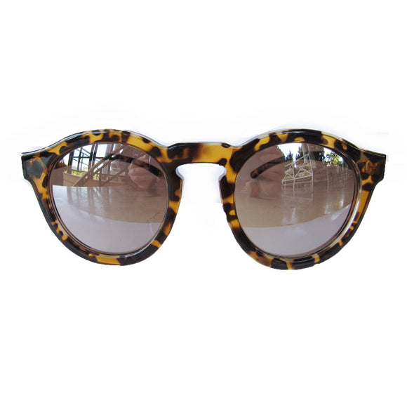 Round Turtle Print Sunglasses w/ Silver Mirrored Lenses