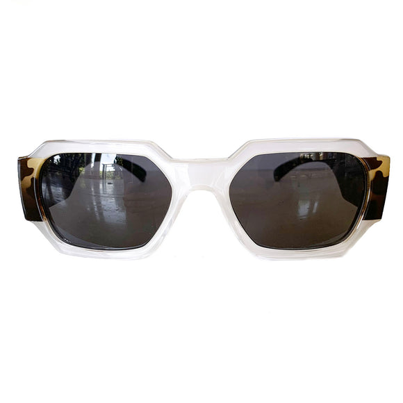 Rectangular Pearly Coloured Sunglasses w/ Brown Lenses and Turtle Print Arms