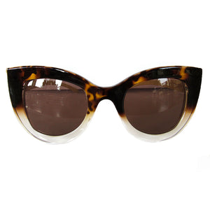Cat Eye Turtle Print and Transparent Coloured Sunglasses  w/ Brown Lenses