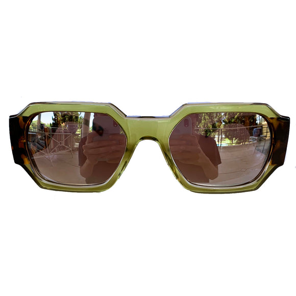 Retangular Green Coloured Sunglasses w/ Silver Mirrored Lenses