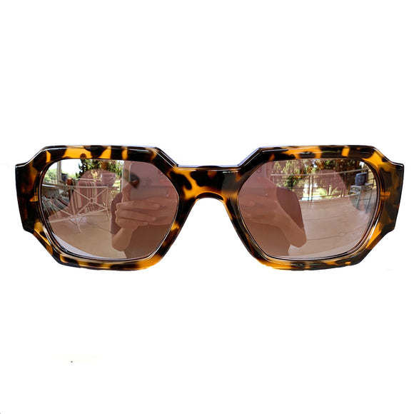 Rectangular Turtle Print Sunglasses w/ Silver Mirrored Lenses