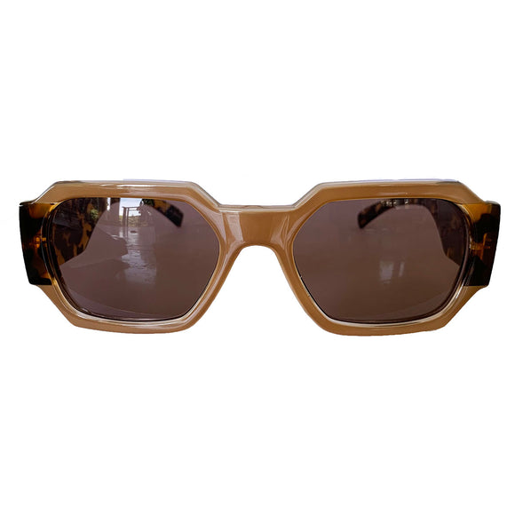Rectangular Nude Coloured Sunglasses w/ Brown Lenses