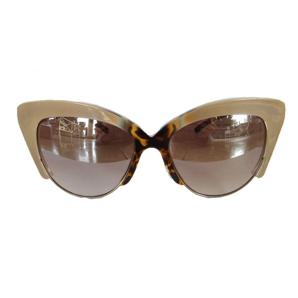 Cat Eye Nude Coloured Sunglasses w/ Turtle Print Details