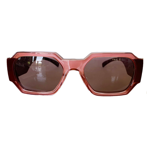 Rectangular Light Pink Coloured Sunglasses w/ Brown Lenses