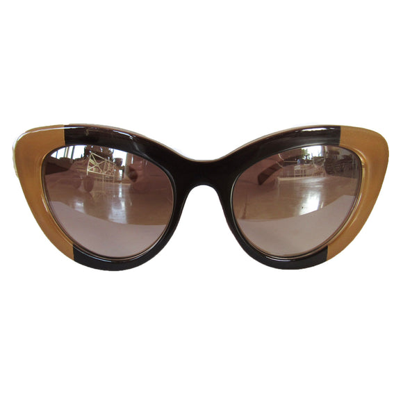 Large Cat Eye Bicolored Sunglasses w/ Brown Lenses