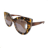 Cat Eye Animal Print Sunglasses w/ Silver Mirrored Lenses