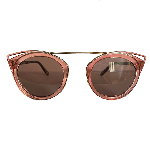 Round Light Pink Coloured Suglasses w/ Cat Eye Detail