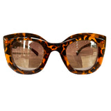 Light Collection - Turtle Print Sunglasses w/ Silver Mirrored Lenses and Burgundy Arms