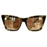 Square Cat Eye Style Dark Turtle Print Sunglasses w/ Silver Mirrored Lenses