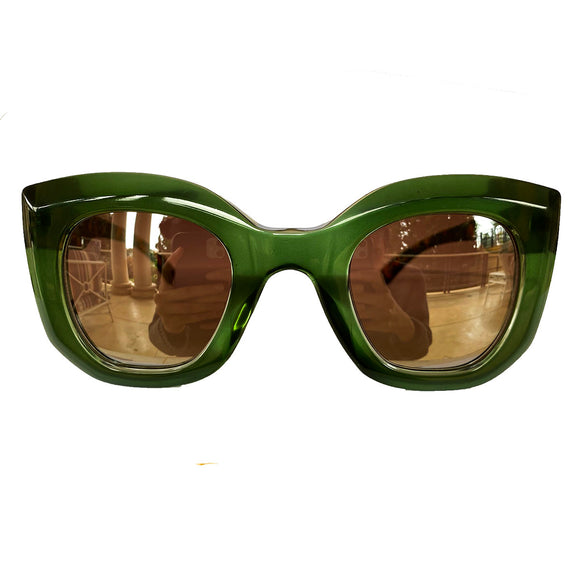 Light Collection - Green Coloured Sunglasses w/ Silver Mirrored Lenses and Turtle Print Arms