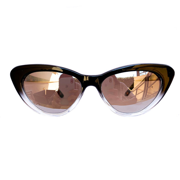 Small Black and Crystal Coloured Cat Eye Style Sunglasses w/ Silver Mirrored Lenses