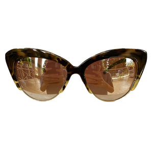 Cat Eye Dark Turtle Print Sunglasses w/ Silver Mirrored Lenses