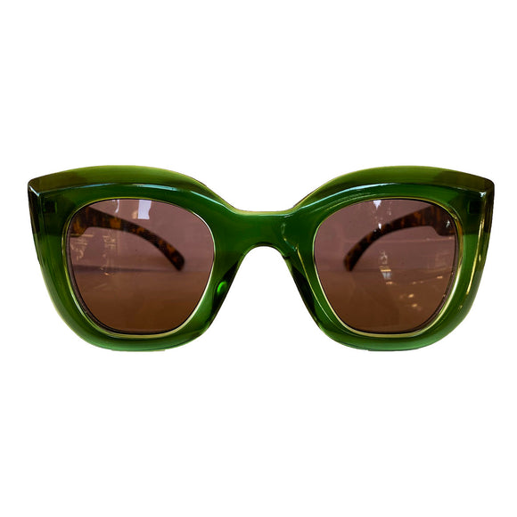 Light Collection - Green Coloured Sunglasses w/ Hazel Lenses and Turtle Print Arms