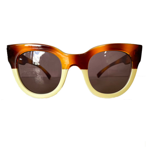 Square Caramel and Ivory Coloured Sunglasses w/ Hazel Lenses
