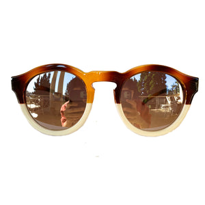 Round Caramel and Ivory Coloured Sunglasses w/ Silver Mirrored Lenses