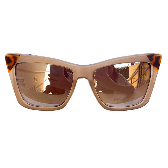 Square Cat Eye Style Nude Coloured Sunglasses w/ Silver Mirrored Lenses