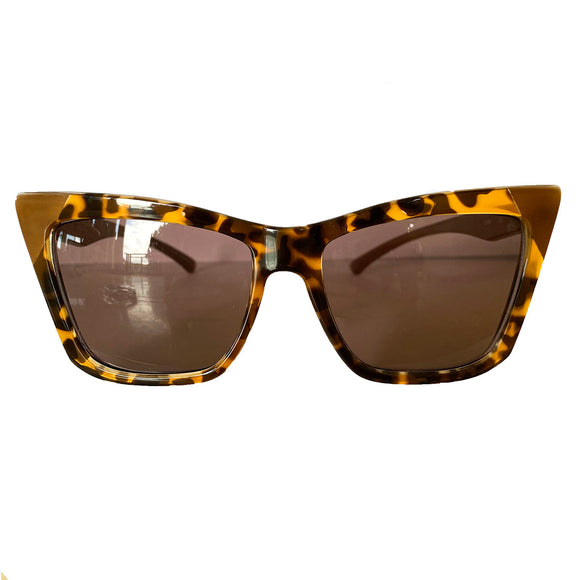 Square Cat Eye Style Turtle Print Coloured Sunglasses w/ Brown Lenses