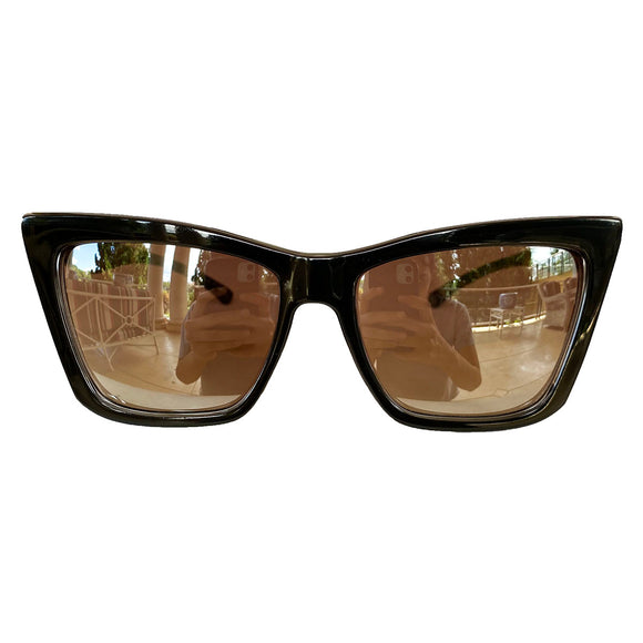 Square Cat Eye Style Black Coloured Sunglasses w/ Silver Mirrored Lenses