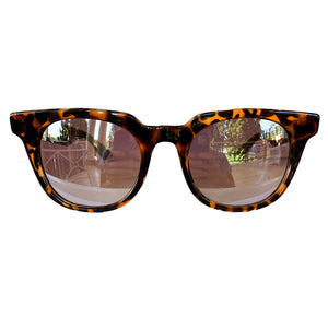 WANDERLUST COLLECTION: Square Turlte Print Sunglasses w/ Silver Mirrored Lenses