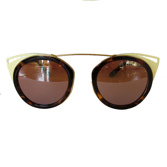 Round Turtle Print and Yvory-Coloured Sunglasses w/ Cat Eye Detail