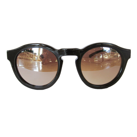 Round All Black  Coloured Sunglasses w/ Silver Mirrored Lenses