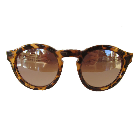 Round Animal Print Sunglasses w/ Ivory-Coloured Arms