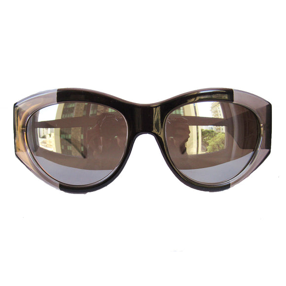 Mask Style Brown and Crystal Brown Bicoloured Sunglasses w/ Silver Mirrored Lenses