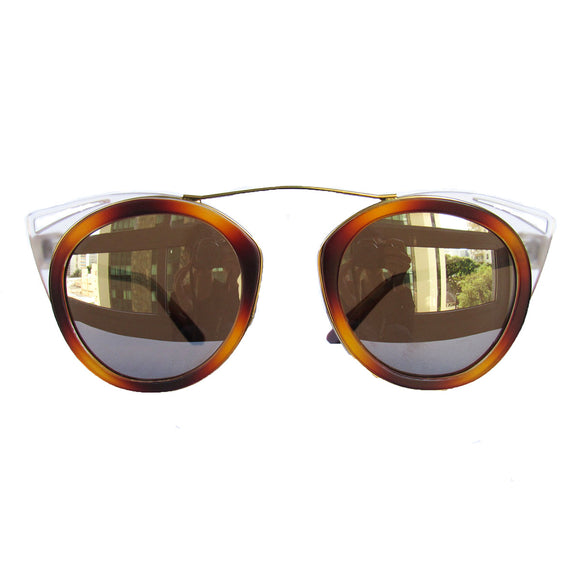 Round Caramel Coloured Sunglasses w/  Cat Eye Detail and Silver Mirrored Lenses