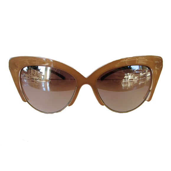 Cat Eye Nude Coloured Sunglasses w/ Silver Mirrored Lenses