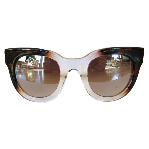 Square Turtle Print and Crystal Coloured Sunglasses w/ Silver Mirrored Lenses