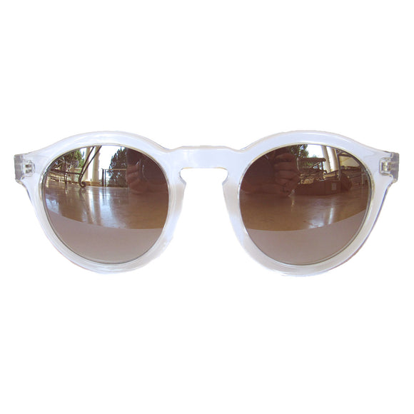 Round All Transparent Sunglasses w/ Silver Mirrored Lenses