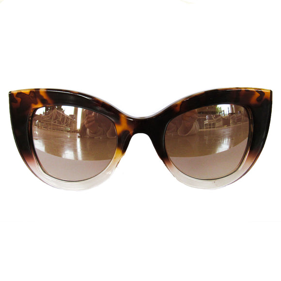 Cat Eye Turtle Print and Transparent Coloured Sunglasses w/ Silver Mirrored Lenses