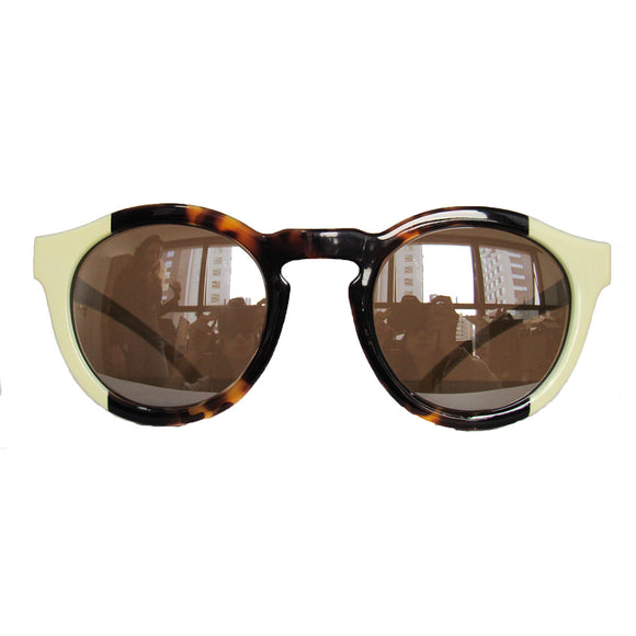 Round Bicolored Sunglasses w/ Vertical Print and Silver Mirrored Lenses