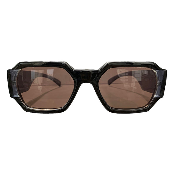 Rectangular Black Coloured Sunglasses w/ Brown Lenses