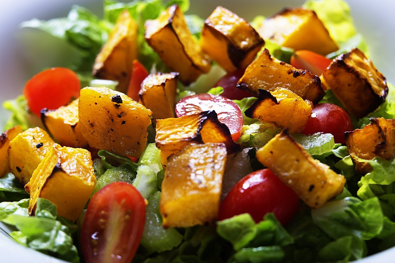 Roasted Butternut Squash and Tomatoes Salad with Cranberry-Orange Vinaigrette