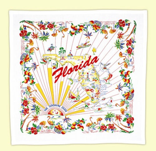 Vintage Inspired Florida Flour Sack Tea Towel