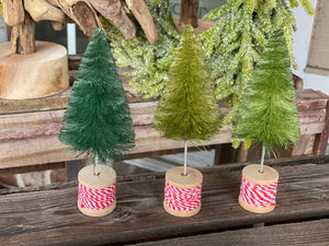 Set of 3 Wood Spool Bottle Brush Trees