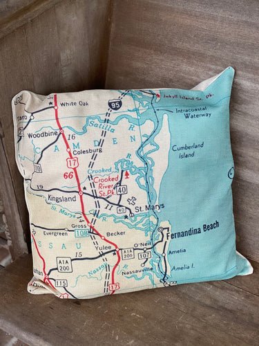 St. Marys Fernandina Map Pillow Cover