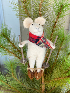 Wool Felt Skiing Mouse