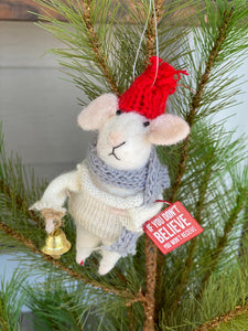Wool Felt Mouse Believe Ornament