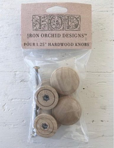 "IOD Wooden Knobs 1.25"" Set of 4"