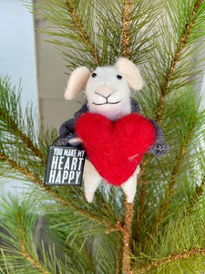Heart Happy Wool Felt Mouse