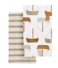 Load image into Gallery viewer, Set of Two Sailboat Cotton Towels