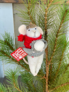 Wool Felt Mouse Let it Snow