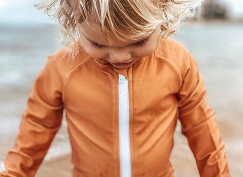 Kids Long Sleeve Swimsuit (BROWN)