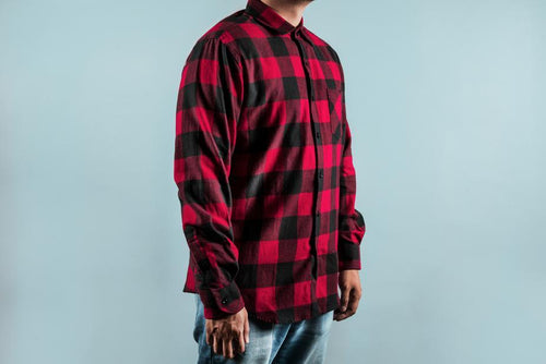 Man wearing chequered red and black shirt