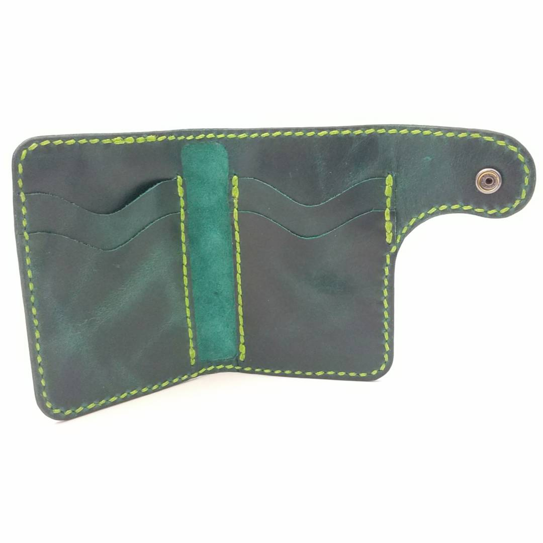 Teal Fusion Vertical Snap Wallet | Bad Mother Leather