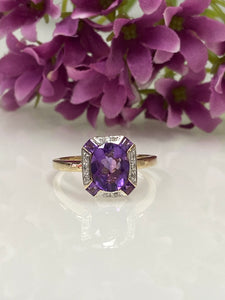 9ct Y/G Amethyst & Diamond Ring