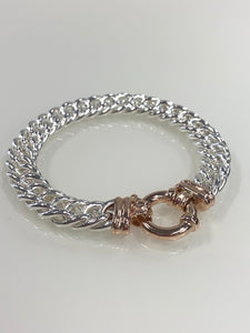S/S & 9ct Rose Gold Double Curb Solid Bracelet